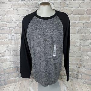 Gap Marled Knit Crewneck Sweater Gray Black XL
